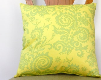 Yellow, Green Paisley  Throw Pillow Cover  18 x 18 inch with zipper closure