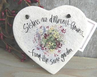 Sister Gift Salt Dough Heart Ornament / Birthday / Mother's Day / Christmas / Valentine Ornament