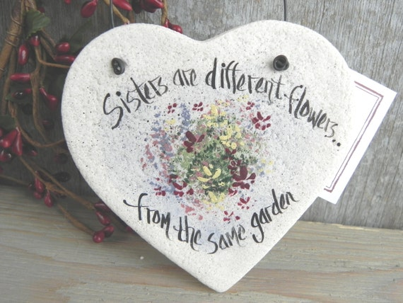 Sister Gift Salt Dough Heart Ornament / Birthday