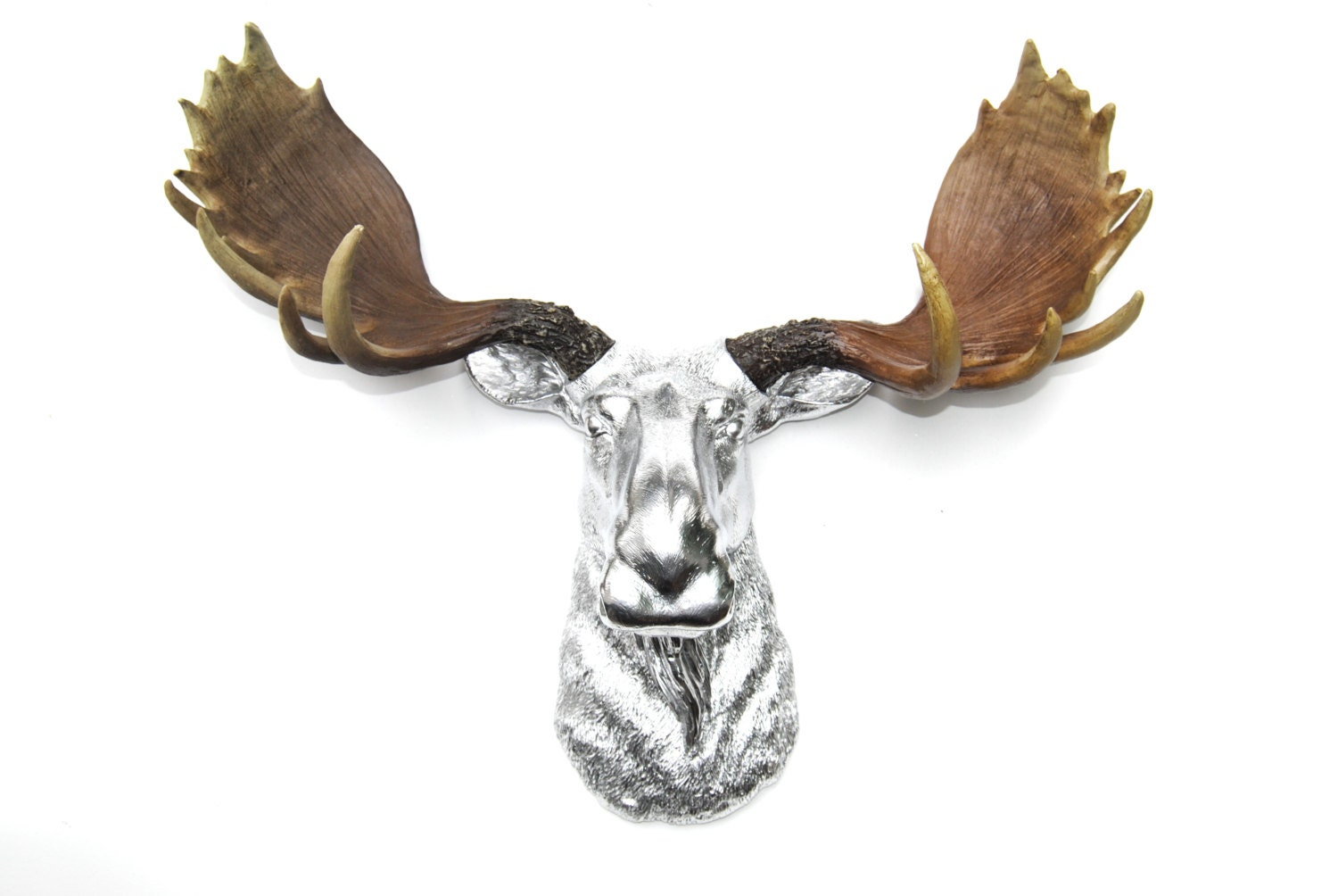 Faux taxidermy chrome moose head with natural antlers wall - Fake moose head mount ...