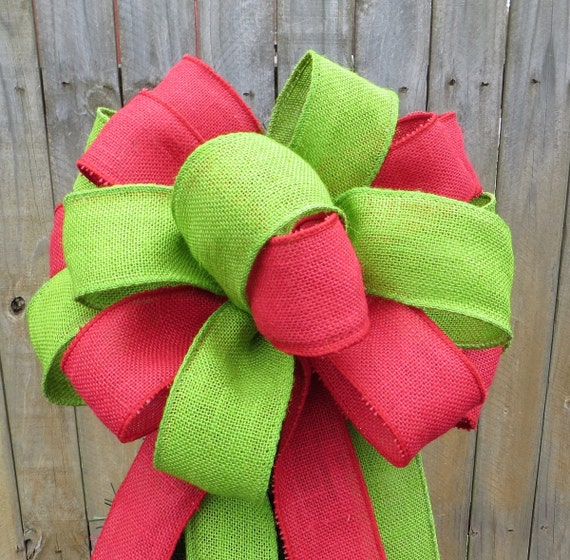 Burlap Tree Topper - Red and Green Christmas Tree Topper - Burlap Tree -  Primitive Country Tree Top Bow in Red and Natural Burlap