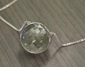 Prasiolite Green Amethyst Statement Necklace, Rocks Necklace, big large 40/80cts rose-cut round ball pendant