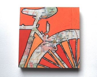 Bike Albuquerque mounted print - Albuquerque, Sandia Park, New Mexico  bicycle art mounted to wood
