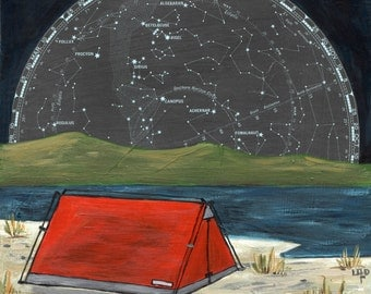 With the Sky print 13x13 - archival print of camping under the stars and constellations - beach camping, hiking art, tent art,