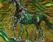 "Horse Rises From the Earth  - 16""x 20"" -  large fabric panel from original batik"