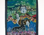 Hills Alive with llamas -  Farm Art  -  Large original batik painting