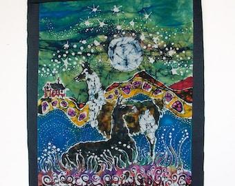 Hills Alive with llamas -  Farm Art  -  Large original batik painting