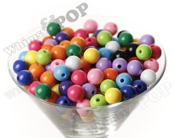 12mm - MIXED Color Gumball Beads, 12mm Gumball Beads, 12mm Beads, Small Gumball Beads, Opaque Acrylic Round Beads, Bubble Gum Bead, 2mm Hole