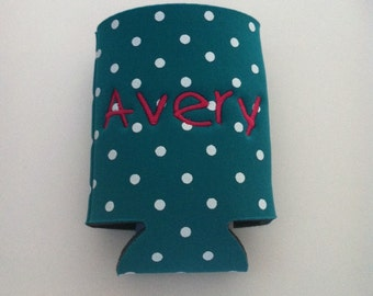 Closeout SALE 1.00 off each Custom Embroidered Can Cooler or Huggie Polka Dot or Zebra Stripe