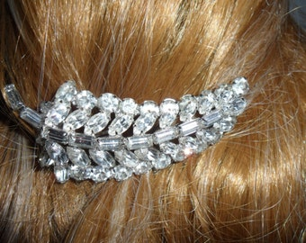 Authentic Vintage High End Beautiful Large Rhinestone Hair Comb, BRIDE, WEDDING
