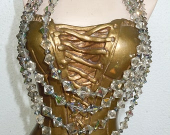 Vintage Glass Beaded Collar Necklace Yellow By