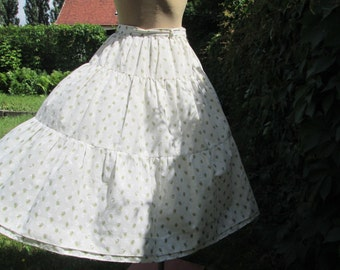 Full Cotton Skirt Vintage / Size EUR38 / UK10 / Ivory  / Olive / Lining