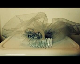 Ladies grey veil/tulle wedding veil grey/blusher veil grey/short veil/handmade veil/chin length veil/bridal veil gray/grey birdcage veil
