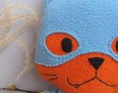 Blue Batkitty, Batgirl cat, the Comic Cat Superhero, stuffed animal plush toy, handsewn, ecofriendly