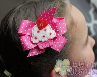 Boutique Cupcake Hair Bow - Meet Cuppiecake