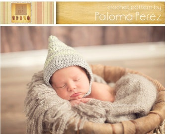 INSTANT DOWNLOAD - Crochet Baby Pixie Bonnet  Pattern - Baby Waves Pixie Bonnet Crochet Pattern