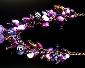 Chunky Bead Charm Necklace in a variety of Purples and mixed metal charms