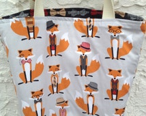 Foxes and Bow Ties Canvas Reversible Tote Bag