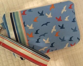 Seagulls and Stripes Nautical Wristlet