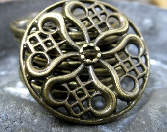 Filigree Flower Pendant Or Chandelier Parts Antique Bronze Alloy 24mm 8 pieces