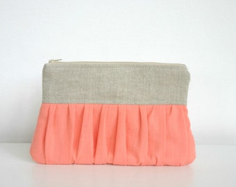 Coral Salmon Pink Bridal bridesmaid linen pleated Clutch Ruched Purse wedding clutch