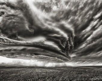 Fine Art Black and White Print of an amazing Supercell thunderstorm  in Nebraska.
