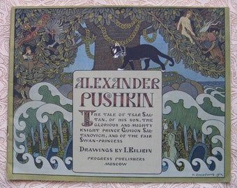 Rare Beautiful edition. Russian A. PUSHKIN fairytale book with DRAWINGs by BILIBIN. Tale of Tsar Saltan. Published in USSR/Russia in English