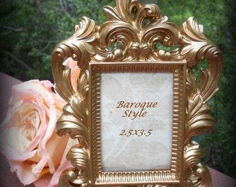 Natural Antique Gold Fancy Photo Frame-Reception,Nursery Decor,Paris,Wedding Supply,Shabby Chic,Victorian,Baroque Frame,Gold Party Decor