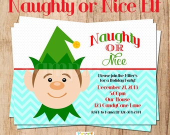 NAUGHTY or NICE ELF holiday party invitation - You Print