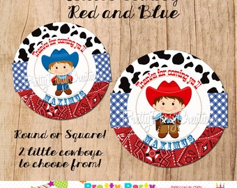 LITTLE COWBOY Red and Blue favor tags - YOU Print