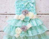 Flower Girl Dress - Lace Flower girl dress - Baby Lace Dress - Rustic - teal Flower Girl dress- Lace Dress - Aqua Lace dress -  Bridesmaid