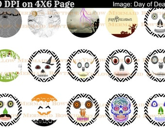 Buy ONE get FOUR FREE Halloween Day of the Dead 1 Inch Bottlecap Images 4x6 Sheet