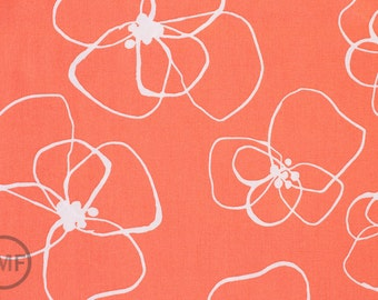 Half Yard Mormor Blomster in Coral, Lotta Jansdotter, Windham Fabrics, 100% Cotton Fabric, 37116-2