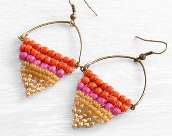 Colorful beaded triangles earrings with glass beads