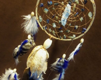 Custom Dream Catcher - Kyanite- Crystal Blue Vibrations- Devils Claw Dream Catcher