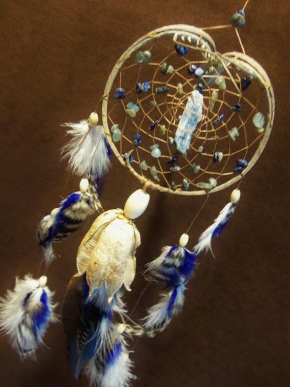 Custom Dream Catcher - Kyanite- Crystal Blue Vibrations- Devils Claw Dream Catcher
