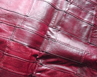 Genuine leather(23''x 50'' )Claret -Vintage look/ Patchwork Leather / Lambskin
