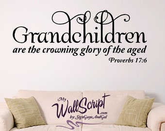 Grandchildren home wall decal, picture wall decal, bible verse wall art