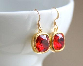 Red Swarovski Crystal Earrings - Cushion Cut Earrings - Ruby Red Earrings