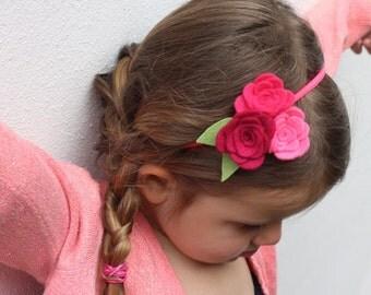 Pink Headband - Baby Headband - Headband for Babies / Toddlers - Pink Felt Flower - Baby Hairband