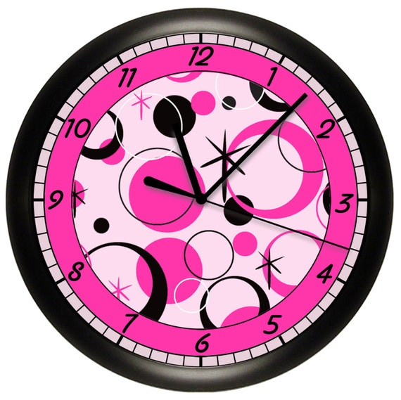 hot pink and black wall clock