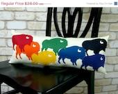 CLOSING SALE Buffalo Pride Rainbow Wool Felt Throw Pillow in Ivory Cotton