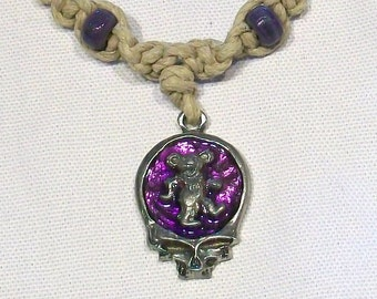 Grateful Dead Dancing Bear Steal Your Face Hemp Necklace, 7 Colors Available