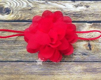 Red baby headband, mini flower headband, elastic headband, baby headband, infant headband, newborn headband, baby girl headband, hair clip