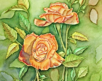 Orange Roses Original Watercolor Painting, matted to 16x20, orange green yellow