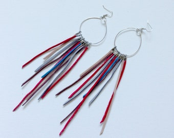 Suede Earrings - Multi-colored suede strands on a sliver Hoop