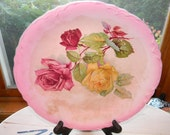 Shabby Chic Antique porcelain ROSE Plate. Artist Thompson Francis.curved & filigree edges