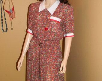 Rockabilly 1980s shirt dress. Gwen Stefani dress. Sheer and flouncy fabric. peterpan collar. mini blouse dress.CINCHED WAIST