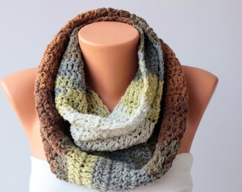 Knitting  infinity  chunky cowl  ,men ,woman, unisex crochet infinity  loop scarf