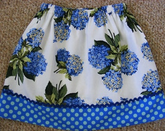 Blue Hydrangeas  Skirt  (2T,  3T, 4T, 5, 6, 7, 8, 10)